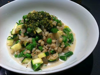 Pearl barley risotto with greens