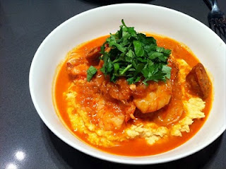 A new life for carbs and red sauce (chickpea puree with red sauce, chorizo and prawns)