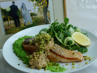 Almond tarator with salmon, courgette and mint (our wedding meal remembered)