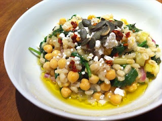 Chickpea and pearl barley with lemon, garlic and chilli