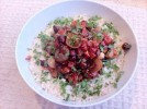 Entertaining: chorizo, tomato, onion and hazelnut risotto