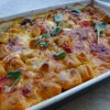Baked gnocchi with meatballs, tomato and mozzarella