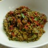 Brown lentils with parsley, mushrooms and peppers