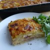 Potato, hummous and onion gratin